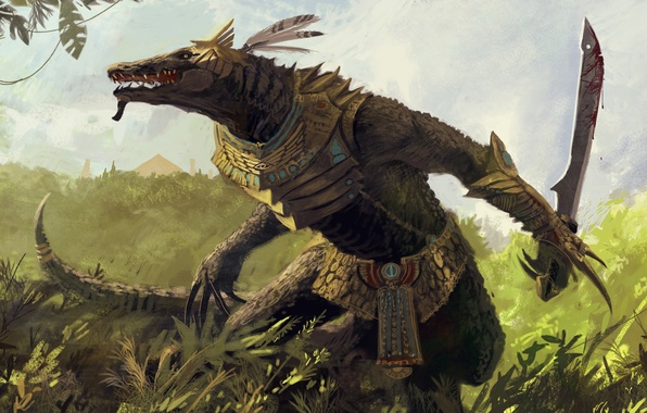 Picture greens, thickets, sword, warrior, art, lizard, Egypt
