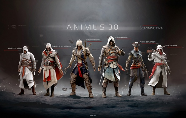 Picture Edward, Altair, Ezio, Connor, assassins, Assassin's Creed IV: Black Flag, Animus 3, Evelyn