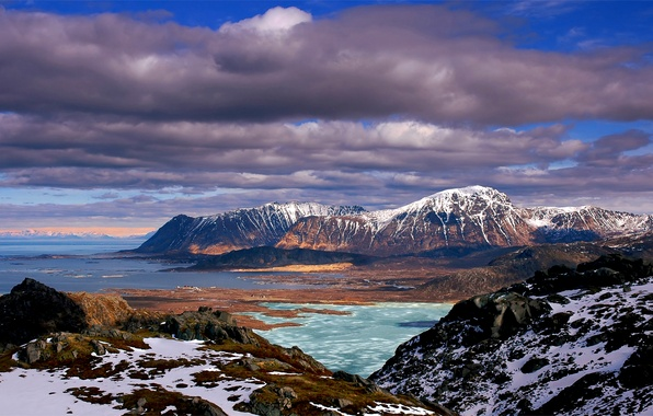 Picture sea, the sky, clouds, snow, nature, stones, hills, blue, moss, Mountains, blue