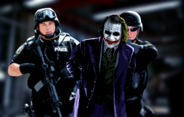 Picture Joker, the film, police, the dark knight, comic, Joker