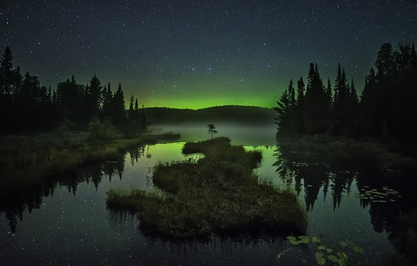 Picture the sky, stars, trees, mountains, night, fog, lake, reflection, Northern lights, mirror, island