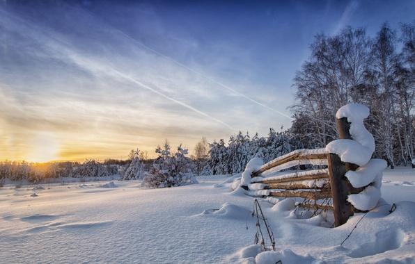 Picture winter, the sky, snow, landscape, nature