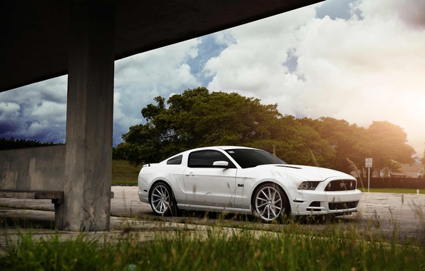 Picture Mustang, Ford, Muscle, Car, Front, Sun, White, CVT, Vossen, Wheels