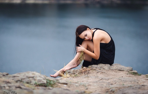 Picture sadness, girl, pose, river, stones, open, mood, sweetheart, tenderness, dress, brunette, black, legs, sexy, beauty, …