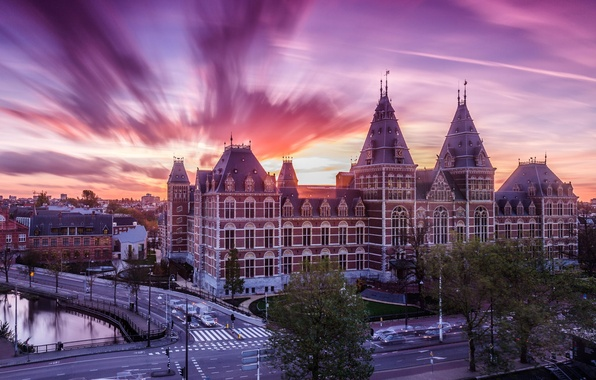 Picture road, sunset, the city, river, street, the building, architecture