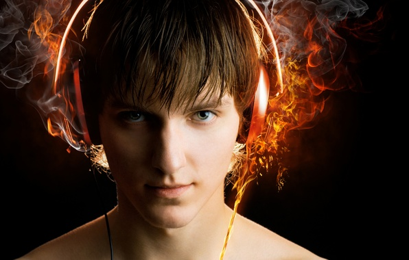 Picture look, fire, wire, headphones, guy, Flames