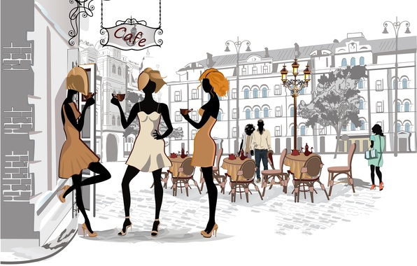 Picture the city, girls, street, Paris, coffee, home, Cafe