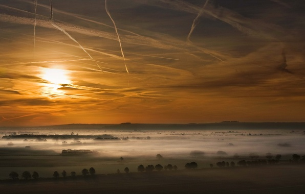 Picture field, the sky, clouds, trees, sunset, fog, valley