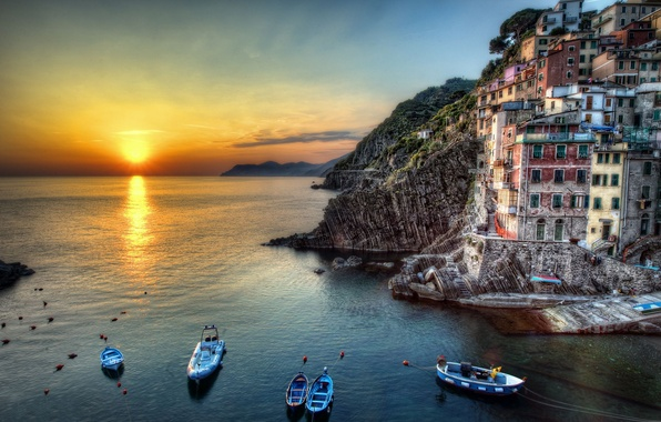 Picture sea, the sun, sunset, rocks, home, boats, Italy, Riomaggiore