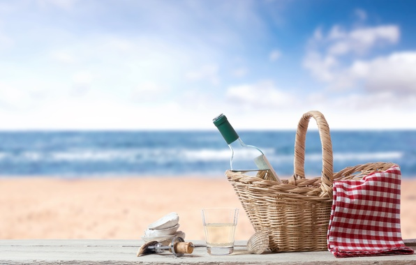 Picture sand, sea, beach, glass, basket, bottle, tube, shell, corkscrew, tablecloth