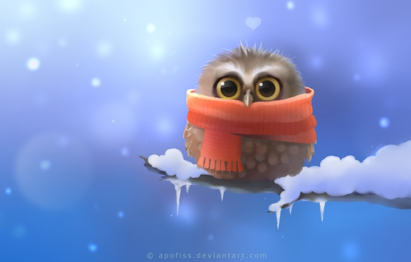 Picture snow, owl, bird, branch, scarf, art, heart, Apofiss, owlet
