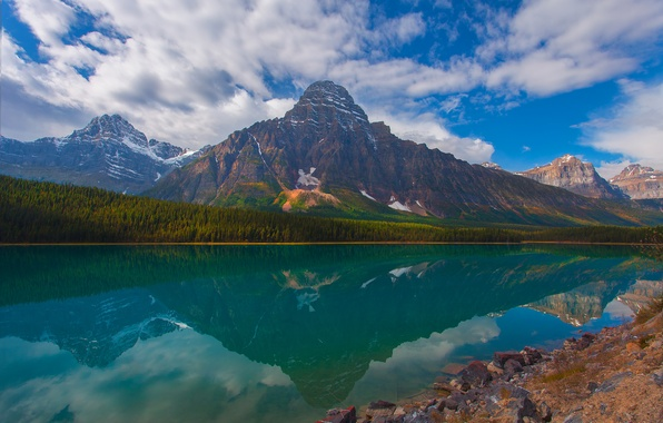 Picture forest, the sky, trees, mountains, reflection, stones, Alberta, Canada, Canada