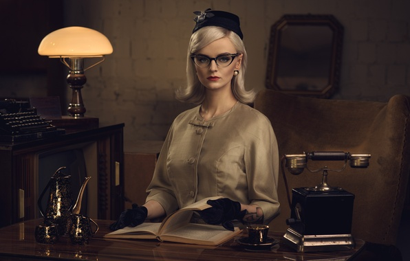Picture girl, retro, table, lamp, glasses, blonde, Cup, gloves, book, phone, typewriter, hat, Secretary, coffee pot