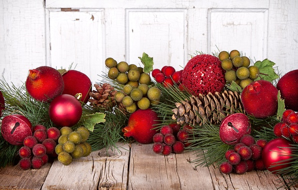 Picture balls, table, toys, Board, branch, New Year, Christmas, the scenery, Christmas, bumps, pine, New Year, …