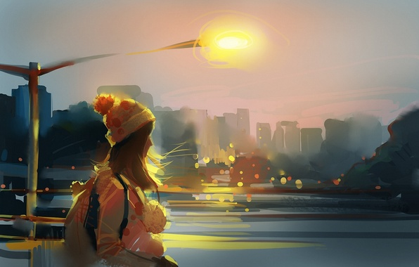 Picture girl, the city, river, the wind, hat, art, lantern, backpack