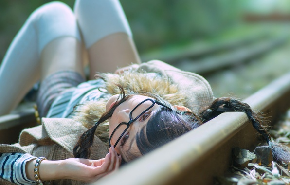 Picture girl, rails, glasses, Asian, on the rails