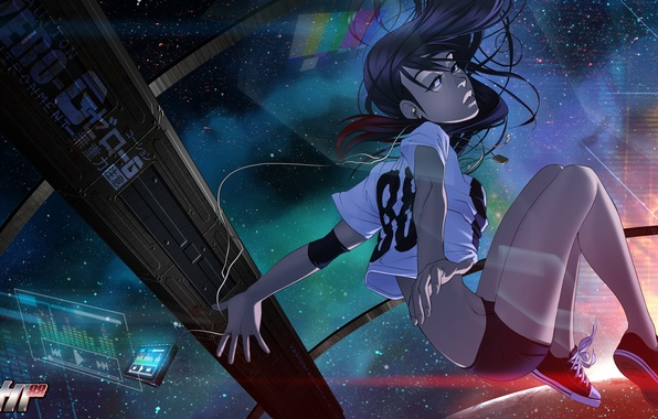Picture girl, space, weightlessness