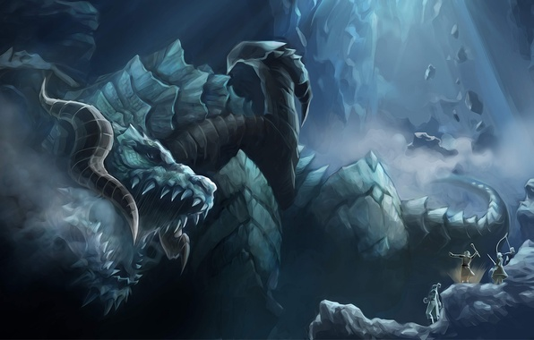 Picture mountains, stones, dragon, head, elves, mouth, fangs, lineage 2, silhouettes