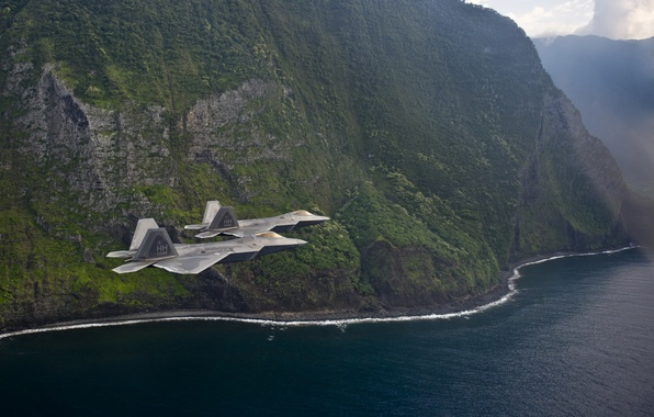 Picture flight, shore, fighters, F-22, Raptor