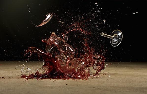 Picture glass, wine, liquid, destruction