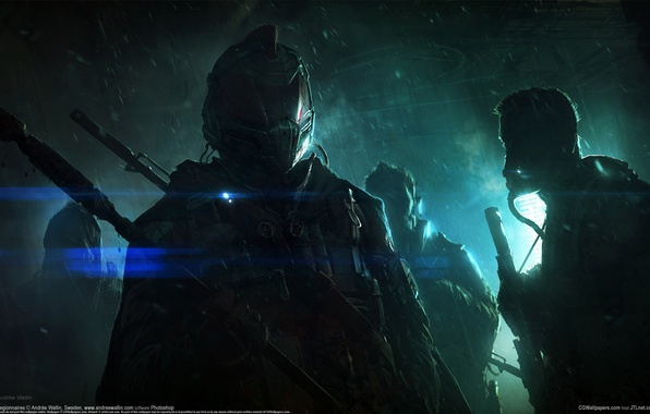 Picture space, city, the city, weapons, fiction, space, sci-fi, Legionnaires, CG wallpapers, Marines, AndreeWallin, Andrée Wallin, …