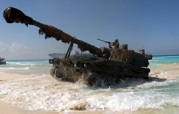 Picture weapons, the ocean, Wallpaper, soldiers, tank, trunk, wallpaper, gun, tanker, landing craft