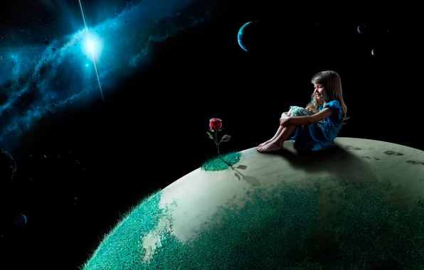 Picture space, rose, planet, girl, child