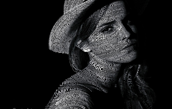 Picture text, Emma Watson, Emma Watson, Typography, Portrait, Text