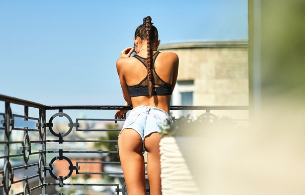 Picture ass, girl, shorts, balcony, Barbara, I'm Sorry