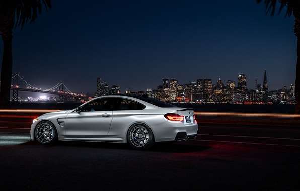 Picture BMW, City, Car, Bridge, White, Collection, Aristo, F82, Rear, Ligth, Nigth