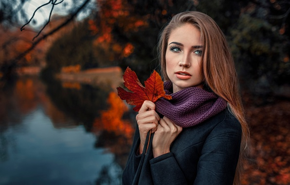Picture autumn, girl, nature, sheet, portrait, Damian Feather