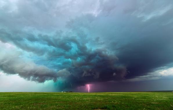 Picture clouds, storm, lightning, field, Colorado, USA, farm, plain