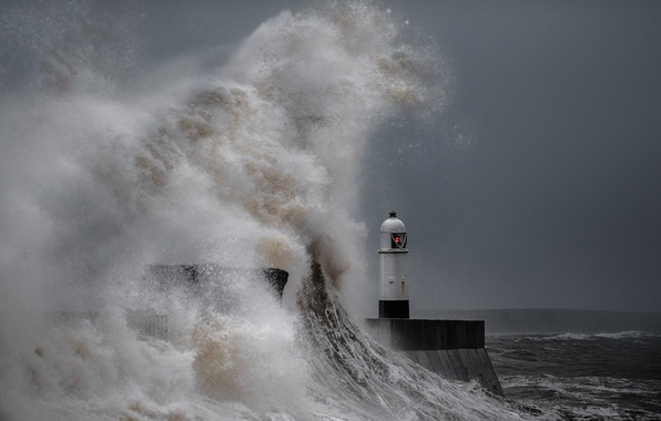 Picture wave, storm, the ocean, lighthouse