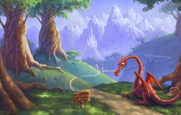 Picture road, plate, dragon