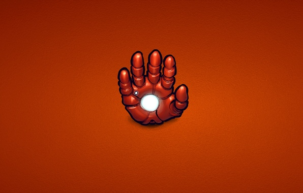 Picture red, steel, hand, minimalism, iron man, marvel, comic, iron man