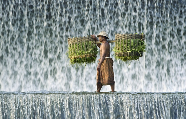 Picture clothing, waterfall, Male, burden