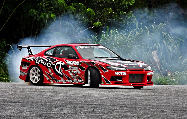 Photo Wallpaper Sport, Tuning, Smoke, Skid, Cars, Nissan, Drift,