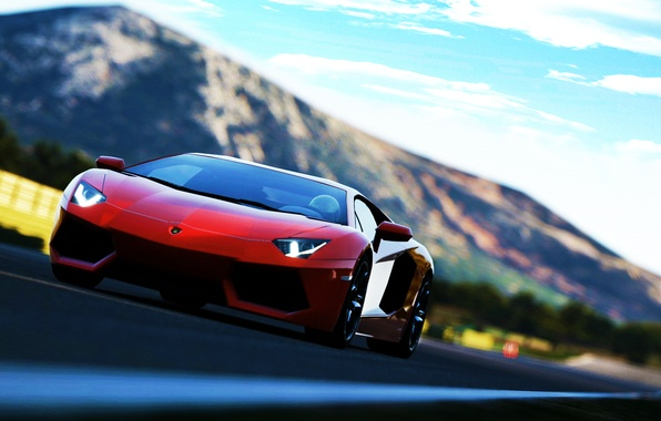 Picture red, Lamborghini Aventador, soprt car
