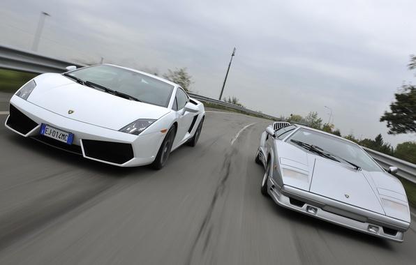 Picture road, Lamborghini, Gallardo, the front, and, supercars, Countach, Lamborghini, Gallardo, Countach