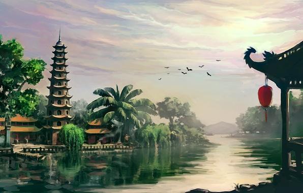 Picture landscape, river, Asia, temple, pagoda, Vietnam