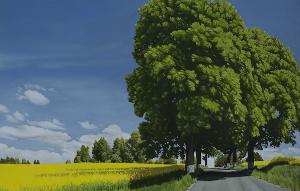 Picture road, summer, the sky, grass, clouds, trees, landscape, nature, painting, green