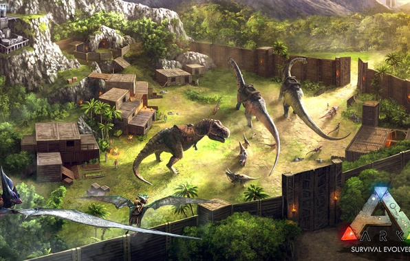 Photo Wallpaper Portal, Forest, Gate, Spear, Blades, Arms, ARK Survival