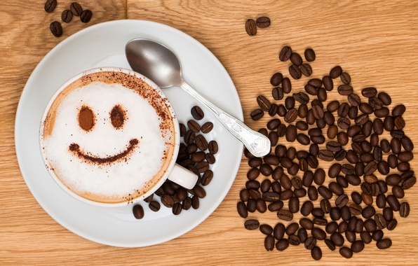 Picture joy, smile, background, Wallpaper, mood, coffee, grain, plate, Cup, wallpaper, cappuccino, smile, widescreen, background, coffee, …