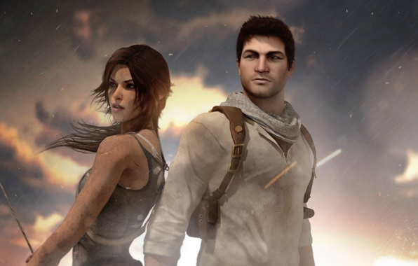 Picture Tomb Raider, crossover, Lara Croft, Nathan Drake, Uncharted