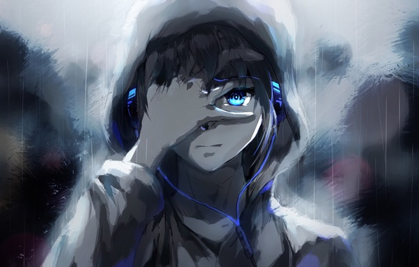 Picture people, rain, anime, headphones, tears, art, guy, raku aohane