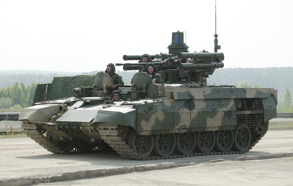 """Picture machine, two, combat, support, guns, Russian, tanks, BMPT, """"Attack"""", ATGM"""