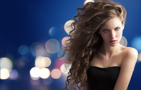 Picture look, girl, makeup, dress, brown hair, shoulders, curls, bokeh, green-eyed, plump, clavicle