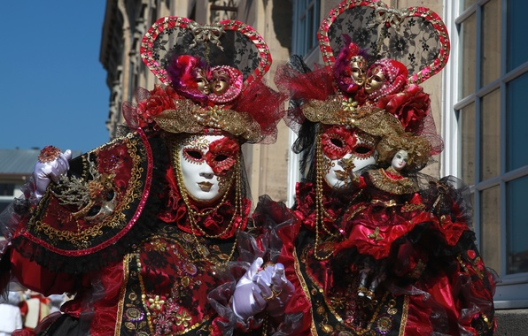 Picture mask, pair, costume, Venice, carnival, exotic