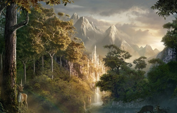 Picture forest, castle, deer