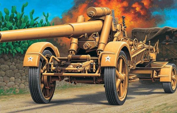 Picture figure, truck, the Germans, The Wehrmacht, 17 cm K.Mrs.Laf, Cannon, German heavy field gun-howitzer